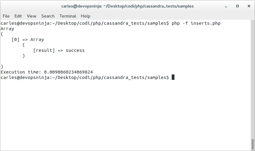 cassandra-php-insert-result-success