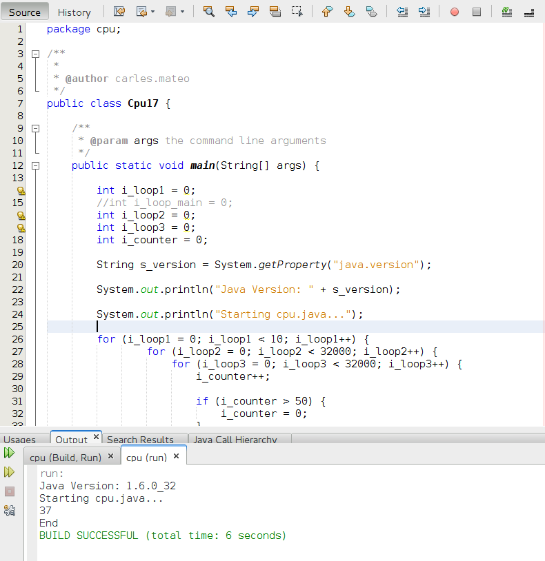 Netbeans with Java IDE executing with OpenJDK 1.6 in 6 seconds