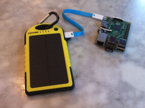 Prototype C-2 Spartan: 5000 mAh solar powered Levin battery, Raspberry Pi 2, blue micro-USB connector, Ziron blue Z-cable