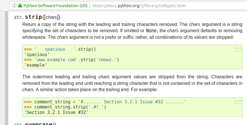 Curiosity Python string strip() removes just more than white